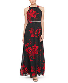 SL Fashions Embellished Floral-Print Gown