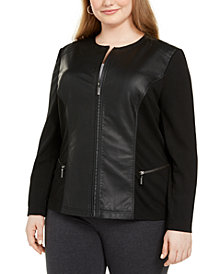Alfani Plus Size Faux Leather & Ponté-Knit Moto Jacket, Created For Macy's