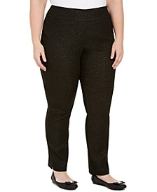 Plus Size Tummy-Control Pull-On Jacquard Ponte Pants, Created for Macy's