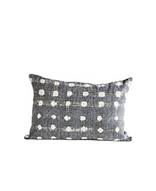 Charcoal Pillow w/Cream Polka Dots