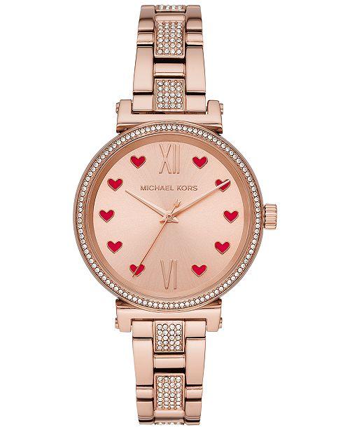 Michael Kors Women's Mini Sofie Rose Gold-Tone Stainless Steel Pavé Bracelet Watch 36mm