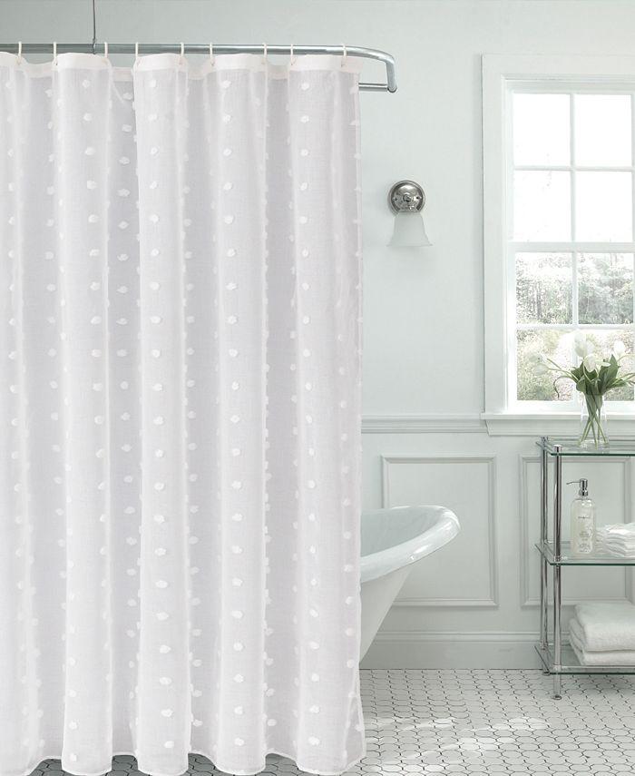L'AUBERGE - L'Auberge Snowball Shower Curtain With 3D Snowballs