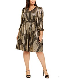 Plus Size Belted Metallic Midi Dress