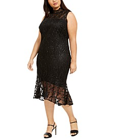 Plus Size Mock-Neck Lace Dress