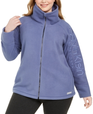 Calvin Klein Sweaters PLUS SIZE MOCK-NECK LOGO-SLEEVE SWEATER