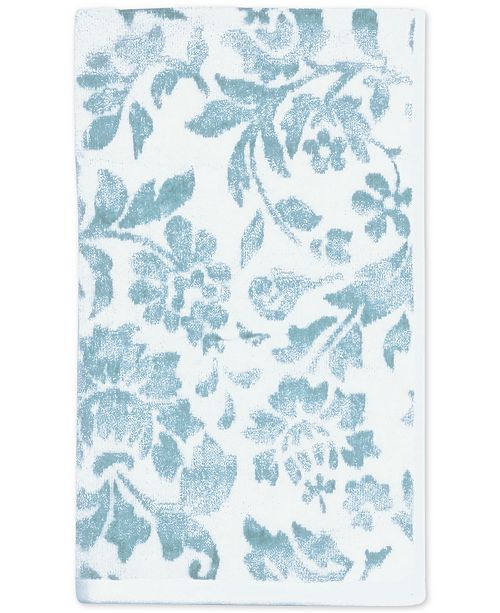 "CHF CLOSEOUT! Floral Leaf Cotton 16"" x 28"" Hand Towel"