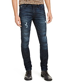 Men's Skinny-Fit Stretch Destroyed Moto Jeans