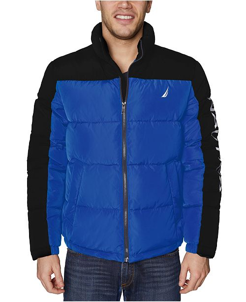 Nautica Men's Water-Resistant Colorblocked Puffer Jacket