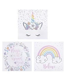 Rainbow Unicorns Canvas Wall Art 3-Pack