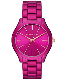 Women's Slim Runway Electric Pink Stainless Steel Bracelet Watch 42mm