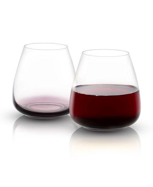 JoyJolt Black Swan Stemless Red Wine Glasses Set of 4
