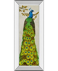 """Vintage-Inspired Peacock I by Melissa Wang Mirror Framed Print Wall Art, 18"""" x 42"""""""
