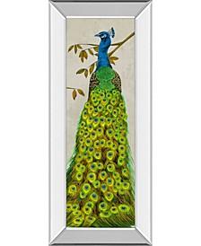 "Vintage-Inspired Peacock II by Melissa Wang Mirror Framed Print Wall Art, 18"" x 42"""