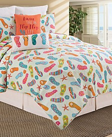 Flip Flop Full Queen Quilt Set