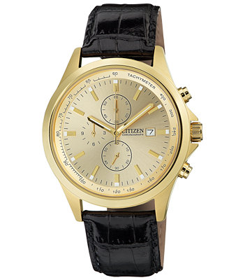citizen s chronograph black leather 44mm