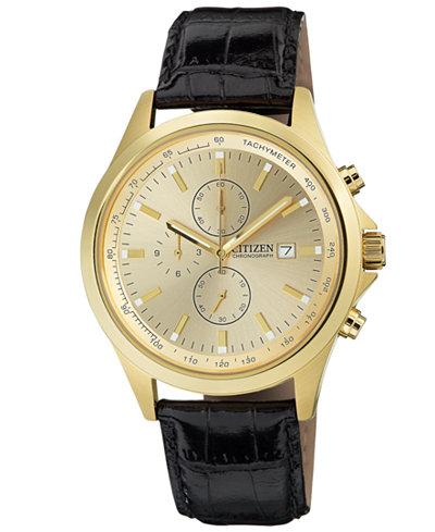 citizen quartz watches macy s citizen men s chronograph black leather strap watch 44mm an3512 03p