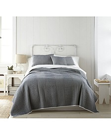 Railroad Stripe 3 Piece Quilt Set - Full/Queen