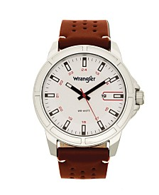 Wrangler Men's, 48MM Silver Case with White Dial, White Index Markers, Sand Satin Dial, Analog, Date Function , Red Second Hand, Brown Strap with White Accent Stitch