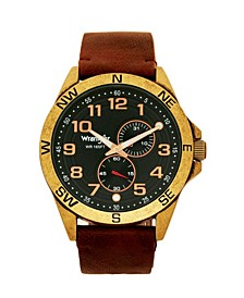 Men's Watch, 48MM Antique Brass Plated Case, Compass Directions on Bezel, Black Dial, Antiqued Arabic Numerals, Multi Function Date and Second Hand Subdials, Brown Leather Strap