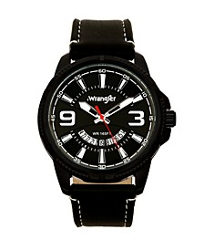 Men's Watch, 48MM Black Ridged Case with Black Zoned Dial, Outer Zone is Milled with White Index Markers, Outer Ring Has is Marked with White, Analog Watch with Red Second Hand and Crescent