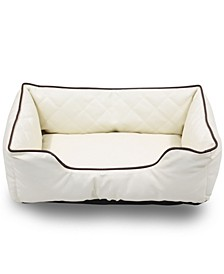 "Luxury All Sides Faux Leather Rectangle Pet Bed, 26""x18"""