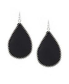 Teardrop Shape Leather Earrings with Zipper Edge
