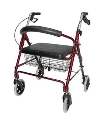 Lightweight Extra-Wide Aluminum Rollator Walker with Seat