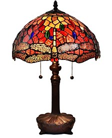 Tiffany Style 2-Light Dragonfly Table Lamp
