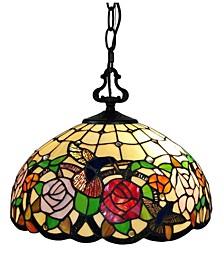 Tiffany Style 2-Light Hummingbirds Floral Hanging Lamp