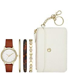 Women's Brown Vegan Leather Strap Watch 40mm Box Set