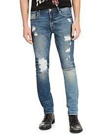 Men's Skinny-Fit Paneled & Destroyed Indigo Jeans