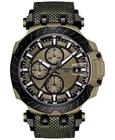 Men's Swiss Automatic Chronograph T-Race Khaki & Black Rubber Strap Watch 48.8mm
