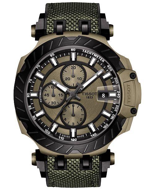 Tissot Men's Swiss Automatic Chronograph T-Race Khaki & Black Rubber Strap Watch 48.8mm