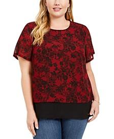 Plus Size Lace-Print Chiffon-Hem Top