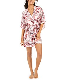 Women's Floral-Print Satin Wrap Robe