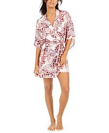 Women's Floral-Print Satin Wrap Robe