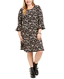 Plus Size Lace-Print Bell-Sleeve Dress