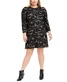 Plus Size Lace Puff-Shoulder Dress