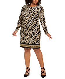 Plus Size Chain-Print Shift Dress