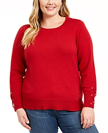 Plus Size Lace-Up-Sleeve Sweater