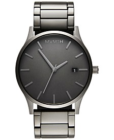 Men's Classic Monochrome Link Gray Stainless Steel Bracelet Watch 45mm