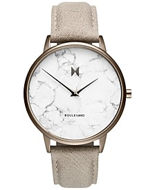 Women's Boulevard Crescent Marble Gray Leather Strap Watch 38mm