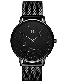 Women's Boulevard Melrose Marble Black Stainless Steel Mesh Bracelet Watch 38mm