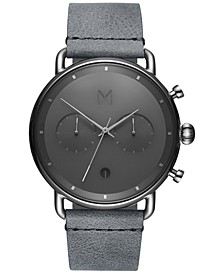 Men's Chronograph Blacktop Silver Mist Gray Leather Strap Watch 47mm