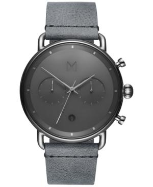 Mvmt Men's Chronograph Blacktop Silver Mist Gray Leather Strap Watch 47mm In Grey