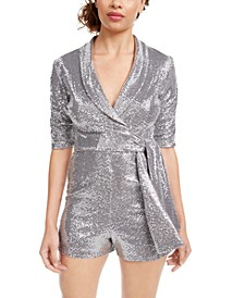 Juniors' Sequin-Dot Wrap Romper