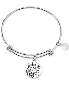 Crystal Cat Charm Bangle Bracelet in Stainless Steel