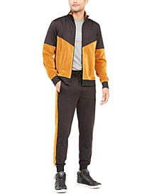 Men's Keith Color Blocked Velvet Track Jacket & Velvet Tape Joggers