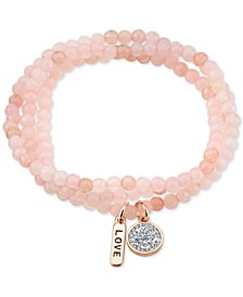 Rose Quartz Stone Beads Crystal Love Charm Stretch Bracelet