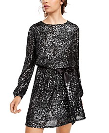 Juniors' Sequined Blouson Dress